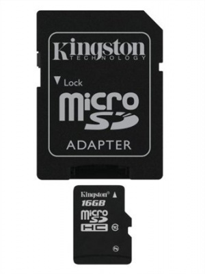 Memóriakártya, Micro SDHC, 16GB, Class 10, adapterrel, KINGSTON