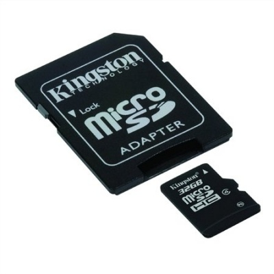 Memóriakártya, Micro SDHC, 32GB, Class 4, adapterrel, KINGSTON